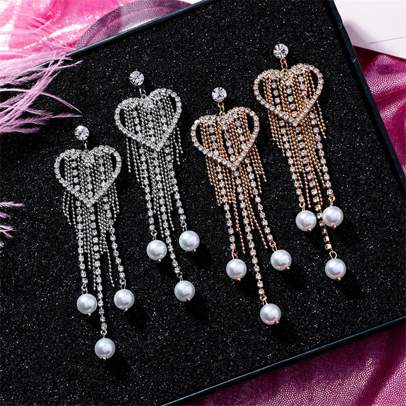 Ajojewel Simulated Pearl Heart Shaped Earrings For Women Long Crystal Tassel Dangle Earrings Fashion Party Jewelry Gift 2019 in Drop Earrings from Jewelry Accessories
