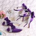 Wedopus Фантазии Милые Летние Сандалии 2015 Фиолетовый Атлас Ткань Свадьба Сандалии Med Пятки Размер 7