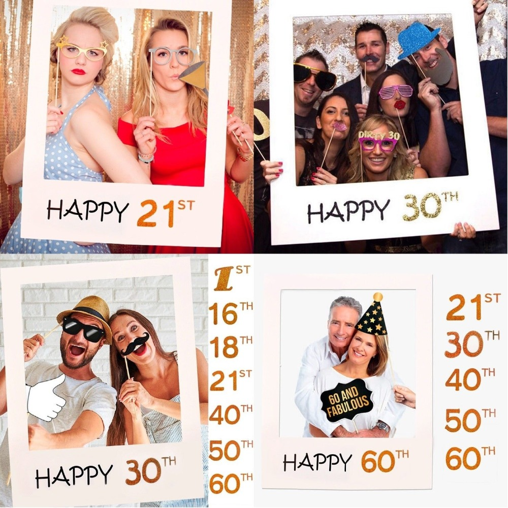 1/16/18/21/30/40/50/60th 2019 Photo Frame Paper Pictures Happy Birthday Anniversary Cutouts Booth Props DIY Party Supplies Decor