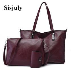 Sisjuly сумки для шт. женщин 3 шт. комплект кожа дамы большой ёмкость Tote Женский плеча через плечо дизайнерская дамская сумочка Sac