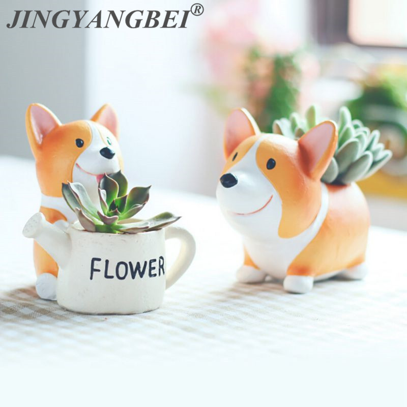 Resin Flowerpot Kawaii Corgi Garden Pots Planters Bonsai Desk Succulent Flower Pot Mix Order Dropshipping