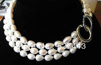 Wholesale Free Shipping NobleNatural 3 ROWS 9 10mm South Sea White Baroque Pearl Necklace