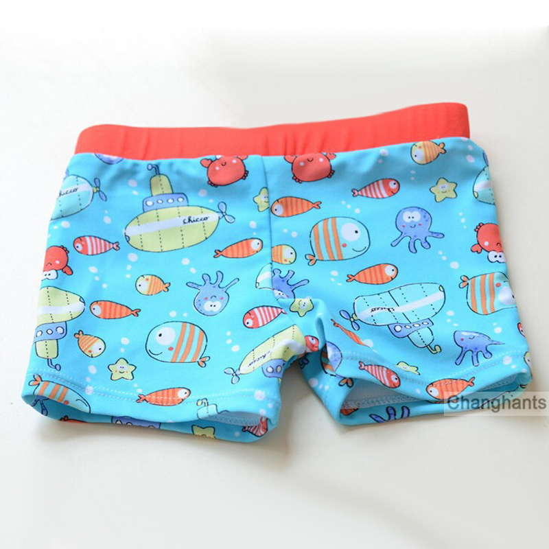 Boys Swimwear Swimming-Trunks New with Little Fish-Pattern Fit 2-6Y Light-Blue Color