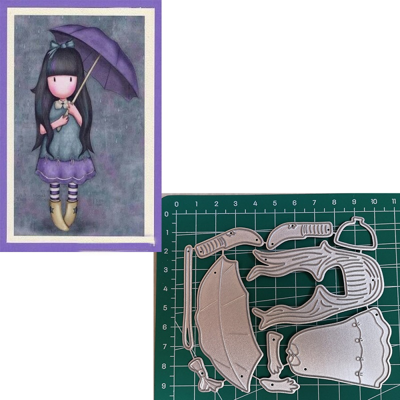 Us 3 74 25 Off Umbrella Girl Metal Cutting Dies 2019 Scrapbooking Craft Dies Cut Stamps Embossing Stencils Invitation Card Making In Cutting Dies