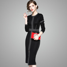 2018 winter and spring new temperament o-neck long-sleeved knitted split dress 74026