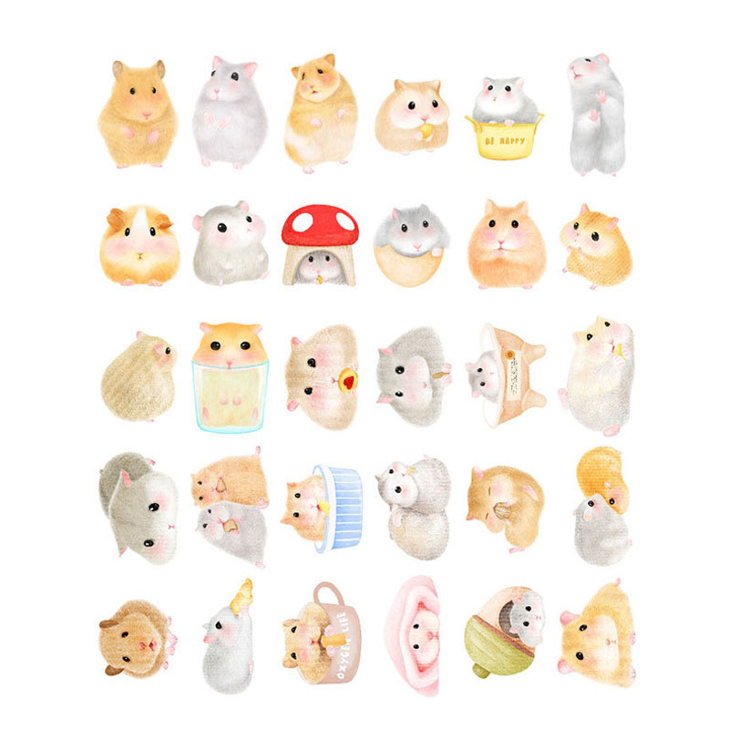 30pcs/lot Cute Small hamster design postcards greeting card christmas card birthday card creative gift cards H035