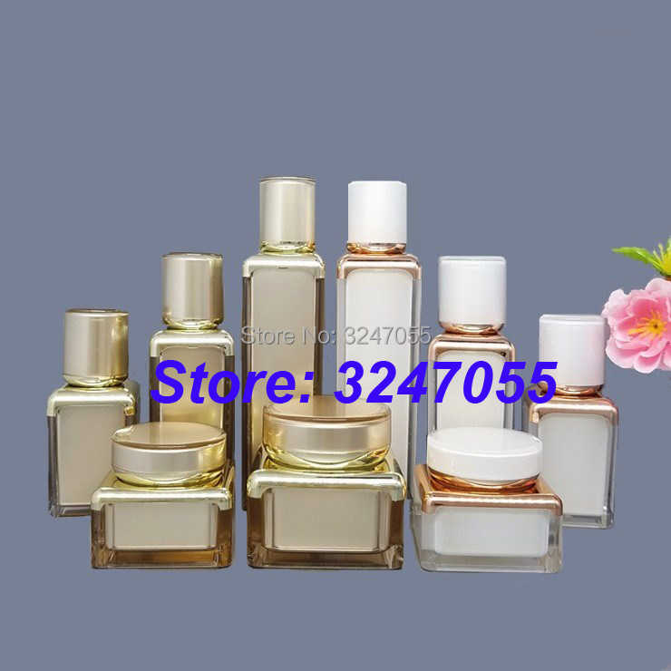 30g50g Empty Elegant Square Cosmetic White Cream Jar, 15ml30ml50ml Airless Acrylic Professional Rose Gold Lotion Pump Bottle