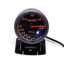 CNSPEED 60MM 12V Car Turbo Boost Gauge BAR With Sensor White & Amber Lighting Black Face Turbo Boost Meter