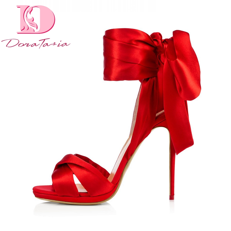 DoraTasia Brand New Big Size 34 45 Stain High Heels Summer Shoes Sandals Women Sexy Party