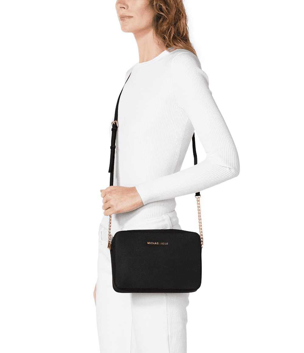 df777a350d87 ... Michael Kors Jet Set East West Crossgrain Leather Crossbody  (Black Gold) Luxury Handbags ...