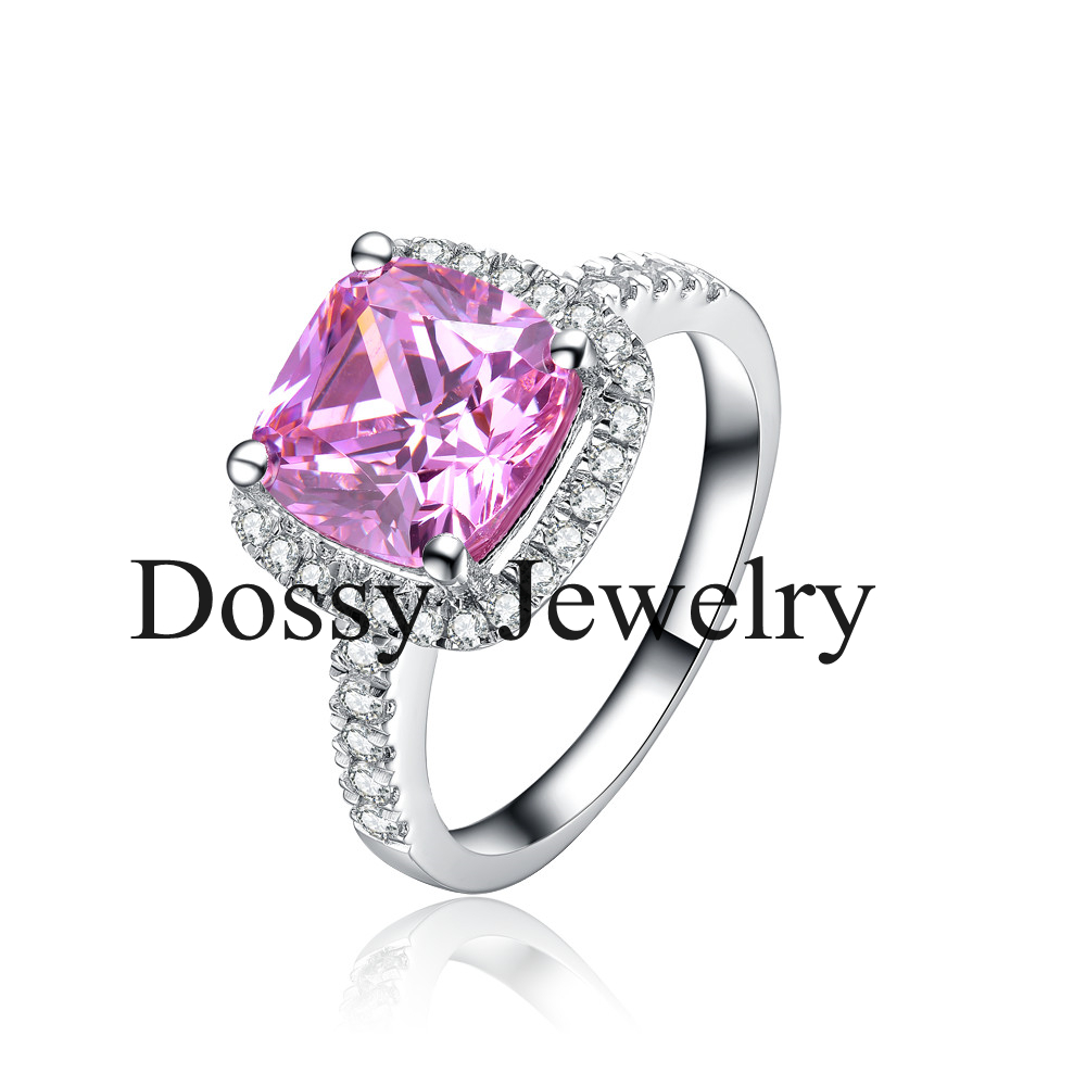 3 Carat Princess Cut Cushion Shape Pink Sona Synthetic Diamonds Engagement  Ring Genuine Solid Sterling Silver
