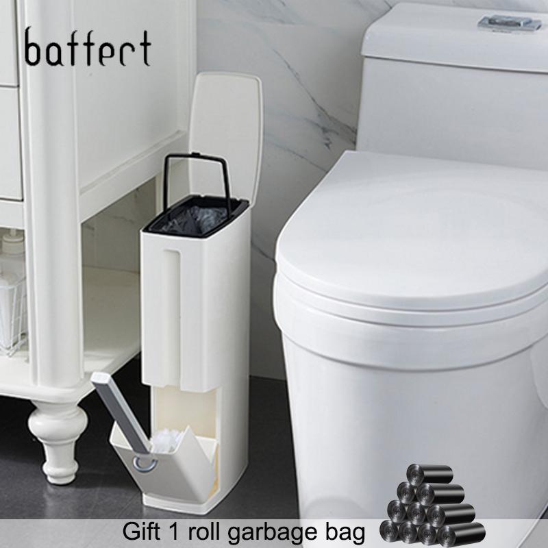Narrow Bathroom Trash Can Waste Bins Toilet Trash Bin with Lid Toilet Brush Garbage bag storage container Plastic Dustbin Set