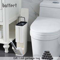 Narrow Bathroom Trash Can Waste Bins Toilet Trash Bin with Lid Toilet Brush Garbage bag storage container Plastic Dustbin Set