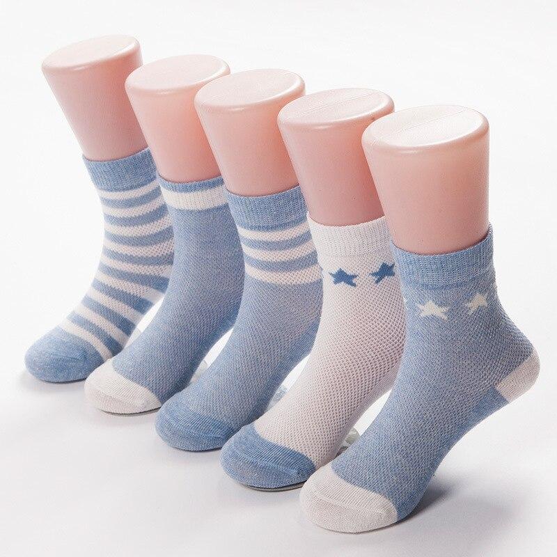 5 párů / šarže tisk dětské ponožky tenké bavlněné ponožky pro dívky jaro léto dětské chlapecké ponožky prodyšné 5barevné dětské oblečení 1-10Y