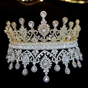 Image 2 - Nuevas Tiaras De boda De lujo para mujer, forma grande, corona, accesorios para el cabello