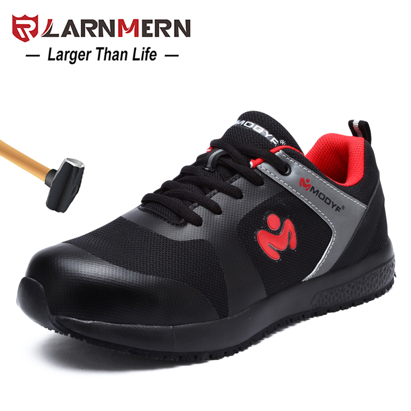 LARNMERN women s Steel Toe Work Safety Shoes Breathable lightweight Anti smashing Anti puncture Construction Protective