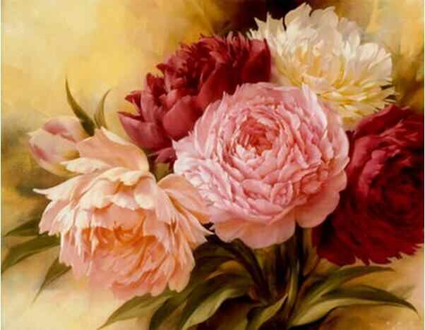 Framless New arrival unique gift Digital Oil Painting On Canvas painting by numbers decorative picture 40*50- Peony Flower Q1351