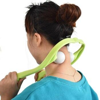 Pescoço e Ombro Terapêutico Duplo Gatilho Ponto Ferramenta de Auto-Massagem Manual do Rolo de Volta Massager cervical massagem Multifuncional
