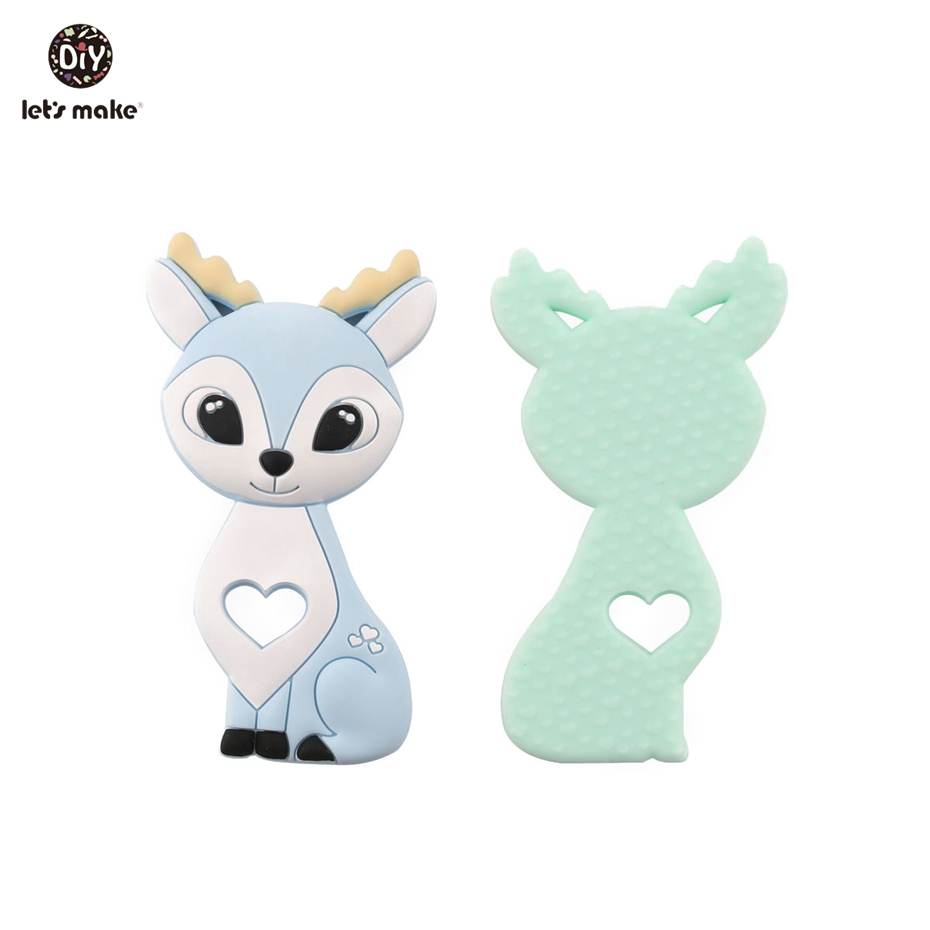 Let's make 5pcs Cartoon Sika Deer Food Grade Silicone Teethers Fawn Elk Hot Sale Newest Gift For Baby Teethers Patent Owner