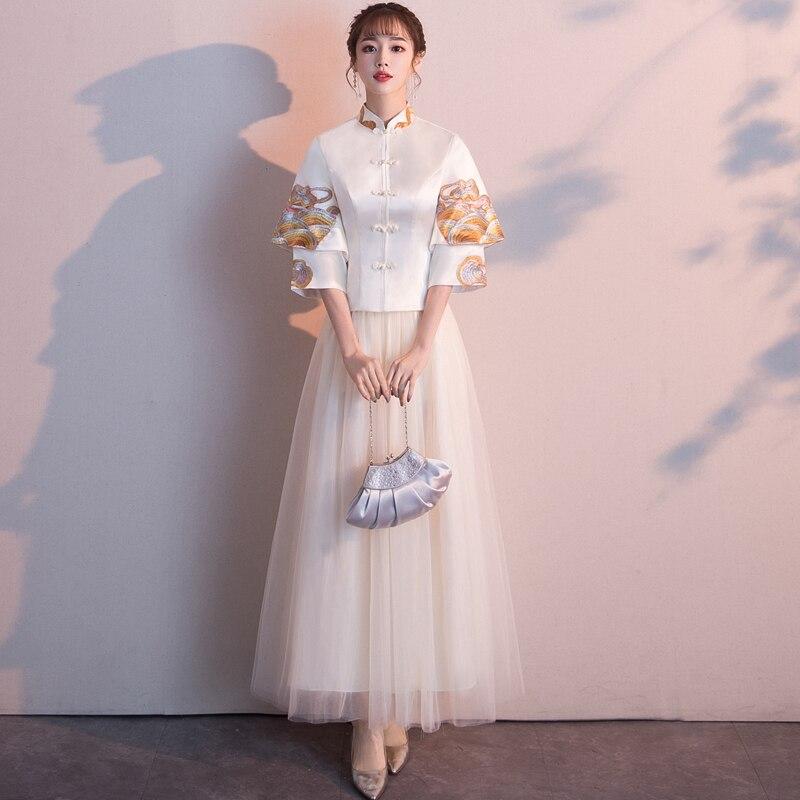 Women Flower Qipao Elegant Vintage Chinese Traditional Mandarin Collar Cheongsam Sexy Wedding Bridesmaid Dress Plus Size