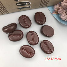 10PCS Coffee bean Resin Flatback Cabochon Miniature food Art Supply Decoration  15x18mm