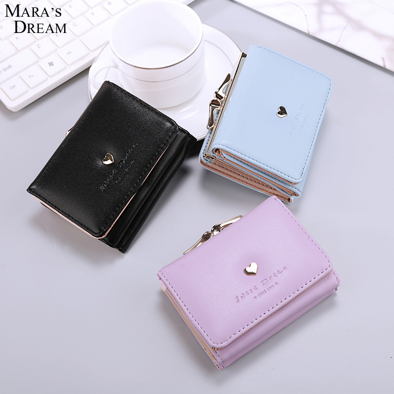 Mara's Dream 2017 Three Fold Wallet Female Short Paragraph 2017 Solid Candy Color Hasp Metal Love Women Small Purse leeshang marvel captain america bi fold wallet dft 1007a for dft 1995 fold mini small wallet