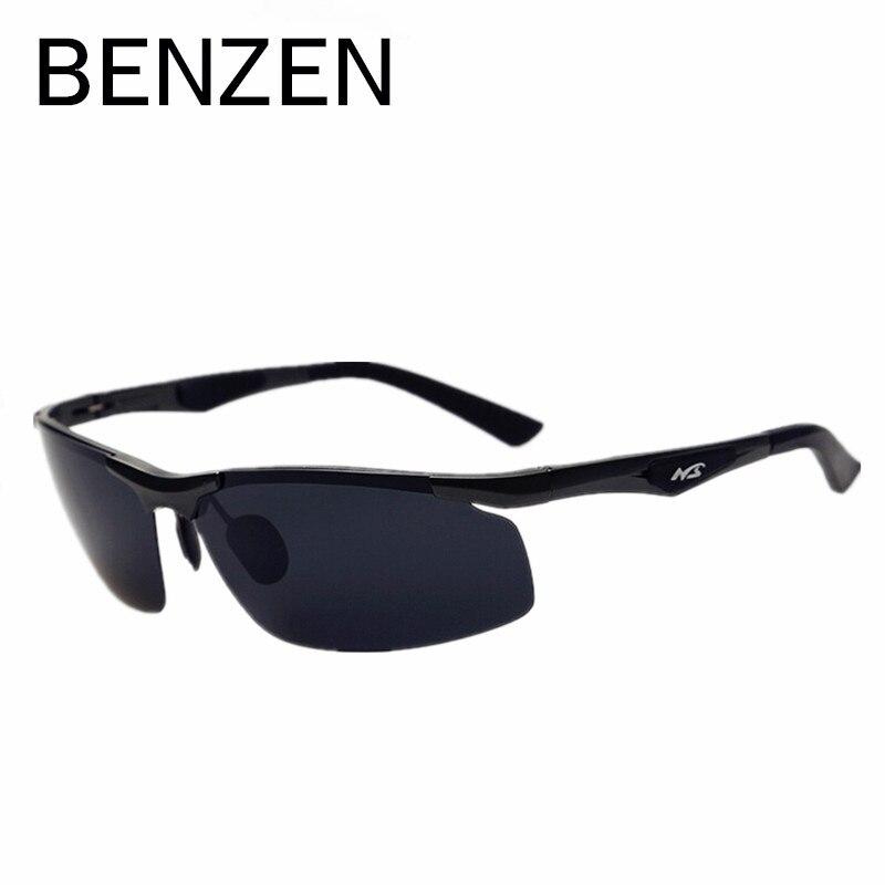 BENZÈNE Polarisées lunettes De Soleil Hommes Aluminium Et De Magnésium Hommes Lunettes De Soleil Nuances Oculos De Sol Masculino Noir Avec Le Cas 9008