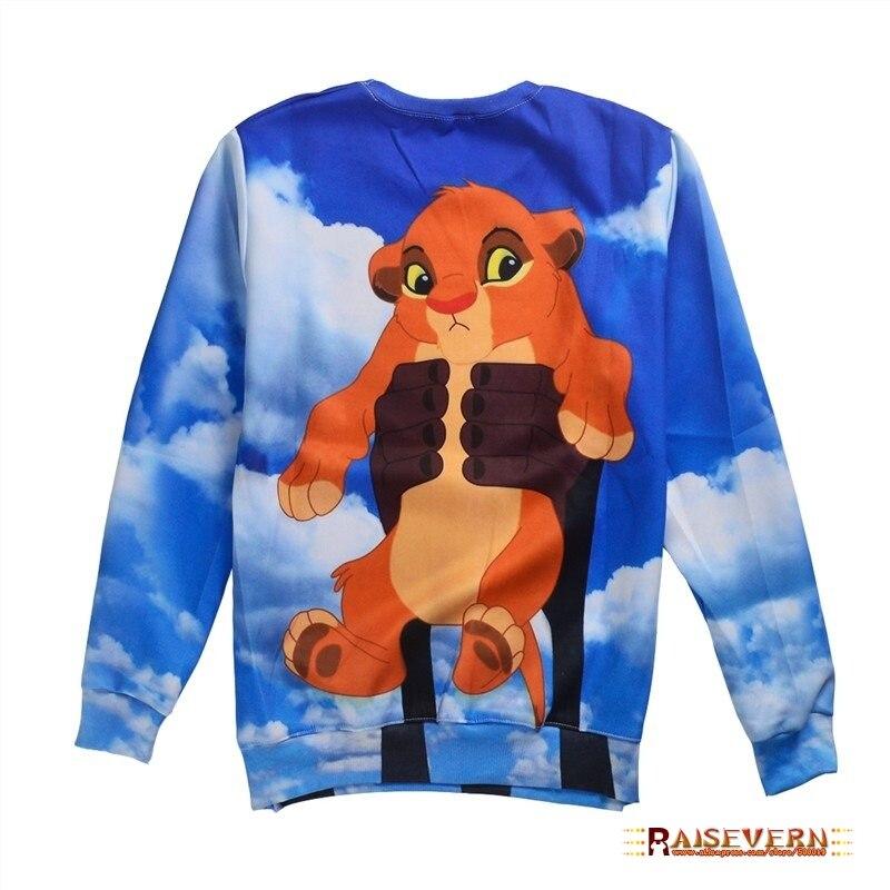 32a063f982ba1 Raisevern bande dessinée 3D sweat bébé Simba Le Roi Lion drôle imprimer  mode vêtements ras du cou sweats top casual survêtement à capuche dans  Hoodies Et ...