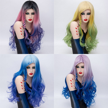 Fashion Cheap Braids Bangs  Long Cosplay Wigs for Women Rainbow Ombre Natural Purple Pink Blue Hair Braiding Synthetic Wavy Wig