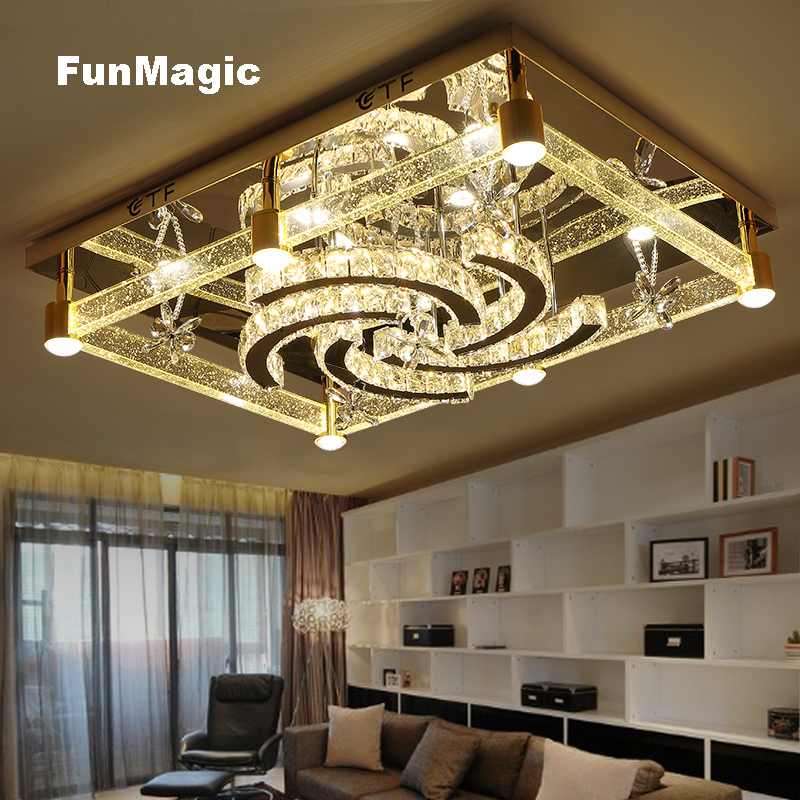Modern Romantic Large Windmill LED K9 Crystal Ceiling Lights Living Room Bedroom Bedroom Fixture Lamp Dimming Lighting Rectangle