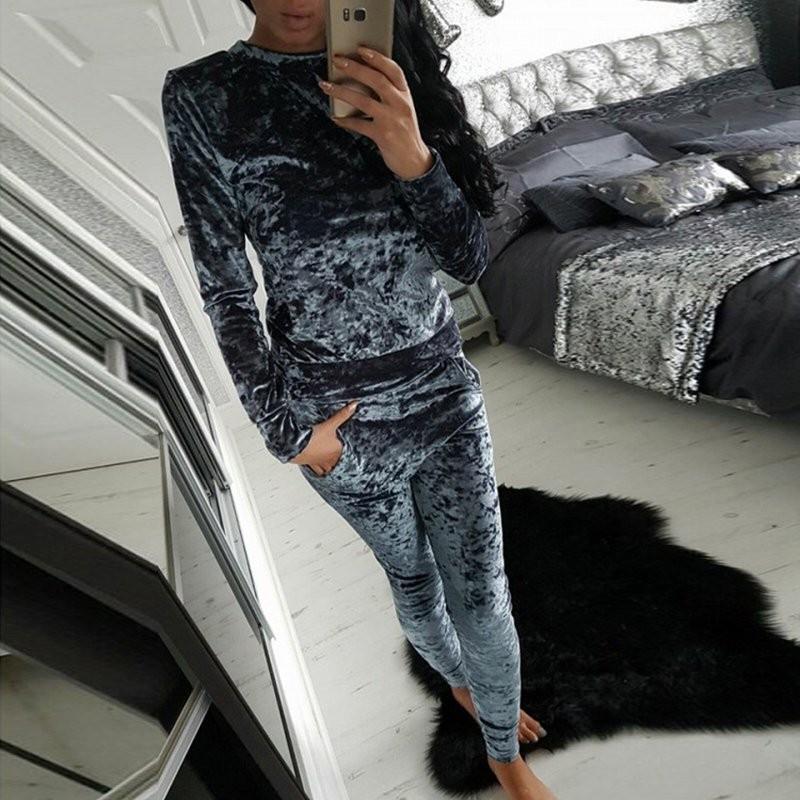 WJ Seksowne Kobiety Dres Ustawia 2017 Nowy Jesień Zima Moda Aksamitne długi Rękaw Bluzy Topy + Spodnie Wąskie Garnitury Femme 2 Sztuka Zestaw 11