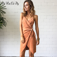 DeRuiLaDy 2018 Women Off Shoulder Sexy Party Dress Suede Sling Mini Summer Dress Sleeveless Cross Lace