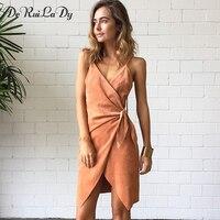 DeRuiLaDy 2018 Women Off Shoulder Sexy Party Dress Suede Sling Mini Summer Dress Sleeveless Cross Lace