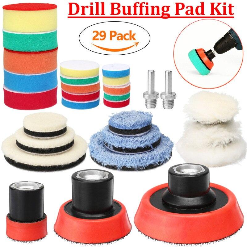 29 pçs/set 1/2/3 Polegada Broca Lustrando Tampão Polimento Pad Tamanho Mix Kit + M14 Backing adaptador Pad Almofadas de Polimento de Ferramentas De Poder