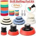 29 teile/satz 1/2/3 Zoll Bohrer Polieren Buffer Pad Polieren Pad Mix Größe Kit + M14 Sichern pad Adapter Power Werkzeuge Polieren Pads-in Polierpads aus Werkzeug bei