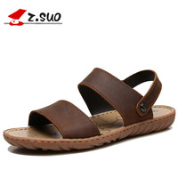 Big Size Summer Men Sandals Genuine Leather Shoes Men High Quality Leisure Beach Leather Sandals Fashion Summer Shoes ZSUO Brand