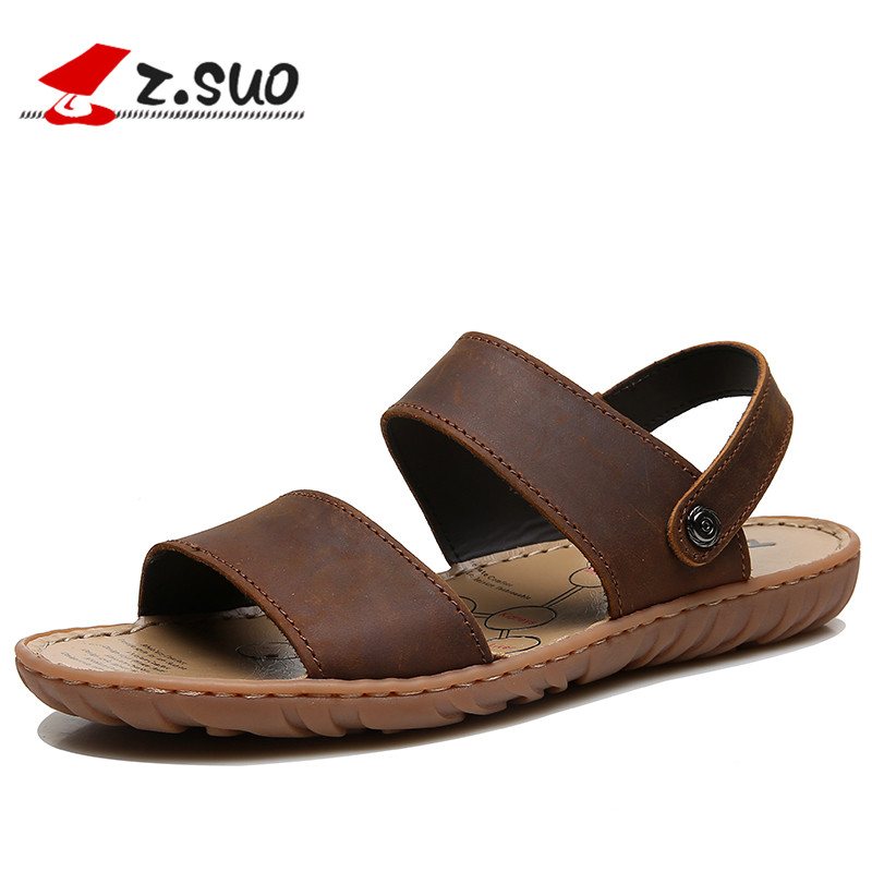 Z. Suo Men Leather Sandals 2018 Plus Size Summer Leisure Fashion Beach Shoes Flat Slides Slippers Non-slip Male Footwear 619NV new arrival summer men sandals leisure solid waterproof male outdoors slippers pu leather fashion slip on sandals w1 35