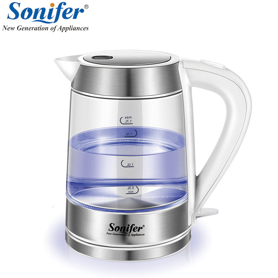 1.7L Original Colorful Electric Kettle Glass Transparent 2200W Household Quick Heating Electric Boiling Pot Sonifer 1 7l original colorful electric kettle glass 2200w household quick heating electric boiling pot sonifer