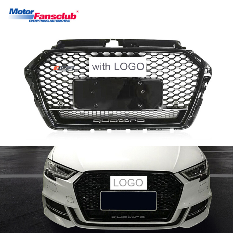 Black/Chrome Car Racing Grille For Audi A3 Grill S3 RS3 8V Quattro 2016 2018 17 ABS Emblems Radiator Front Bumper Mesh Henycomb