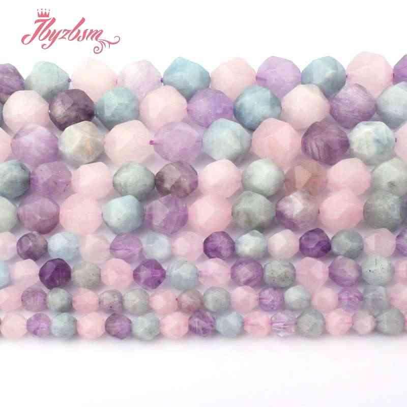 """Facet Lavendel Aquamarines, Amethisten, quartz Natuursteen Kralen Voor Ketting DIY Sieraden Maken 15 """"5-6,8, 10mm Gratis Verzending"""