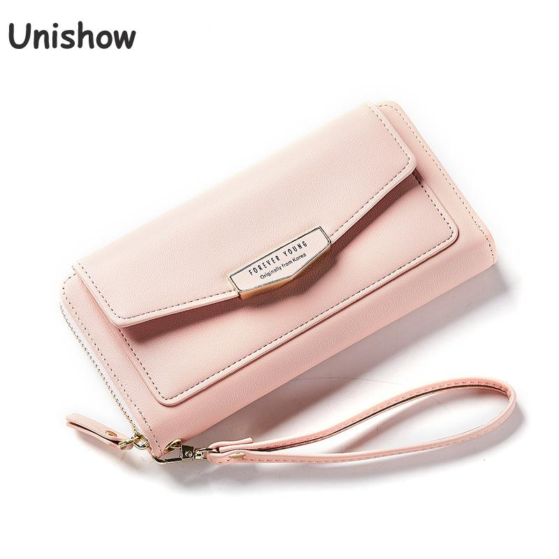 Unishow Wristband Women Wallet Long Design Envelope Clutch Lady Purse Wallet Large Capacity Fashion Casual Pu Leather Purse Bag