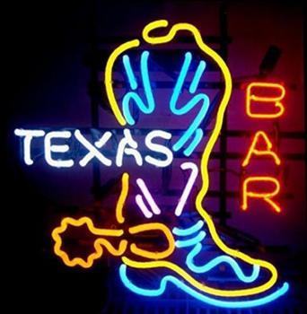 Texas Boot Glass Neon Light Sign