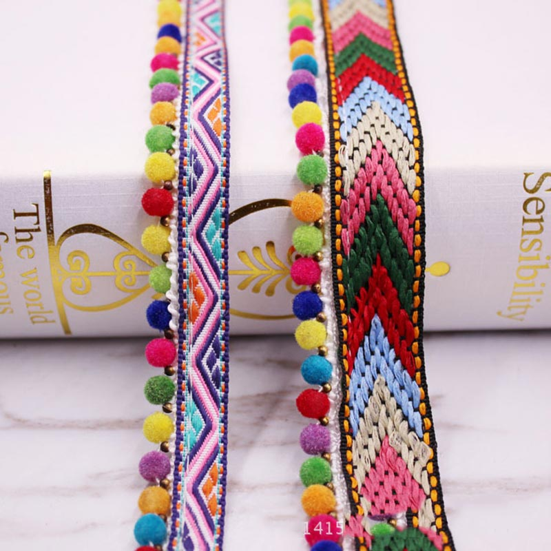 10yards/lot Triangle ball top lace Ribbon tassel cotton tassels trimming fringes for sewing bed sheet clothes curtain decoration
