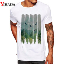 Summer Men T Shirt Slim Fit Graphic Tee Funny Bird Forest Tree 3D Print T-Shirts Casual White Tops men forest print tee