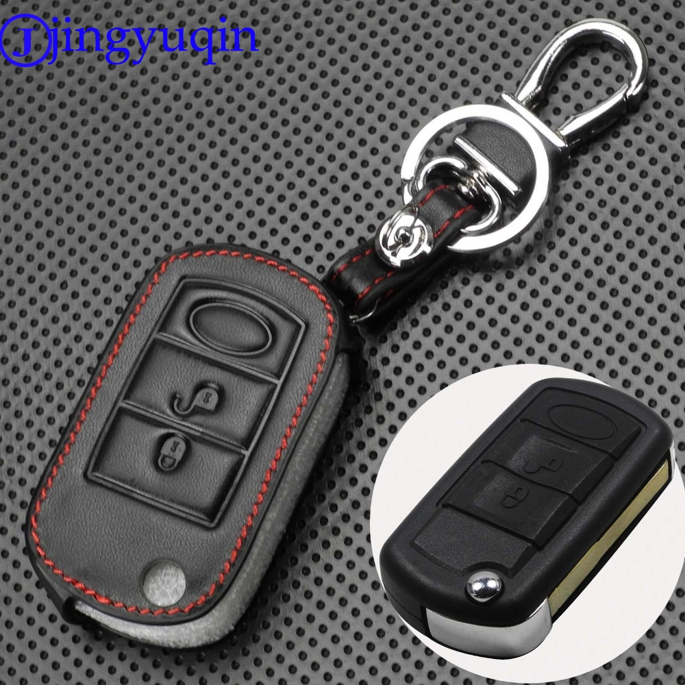 Jingyuqin 3 Buttons Remote Flip Car Key Case Fob Styling Shell Leather Cover For Land Rover Range Rover Sport LR3 Discovery