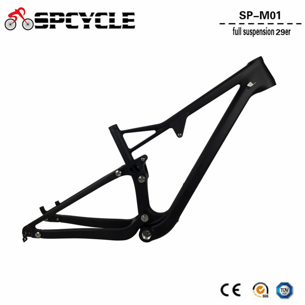 Spcycle 29er Full Suspension Carbon Mountain Bike Frame Disc Brake Carbon MTB Bicycle Frameset in Shock 165*38mm travel BSA BB 2018 anima 27 5 carbon mountain bike with slx aluminium wheels 33 speed hydraulic disc brake 650b mtb bicycle
