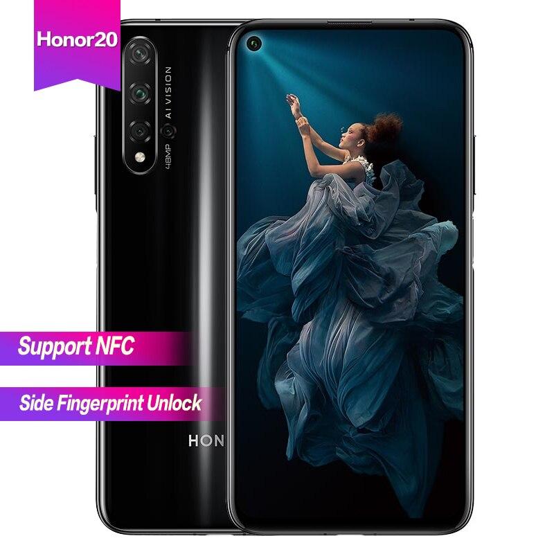 """Huawei Honor 20 6,26 """"полный экран Android 9 Поддержка NFC 5 камер 2340*1080 Восьмиядерный 3750 мАч супер зарядка сторона отпечатков пальцев разблокировка"""