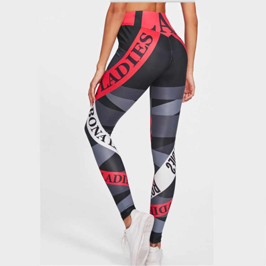Fitness de Alta Elástica Calças Skinny Roupas Da Moda Para As Mulheres Push up Leggings Treino Nova Impressão Leggings Esportivos Mulheres