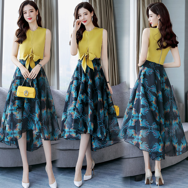 2018 Summer 2 Pieces Set Women s Sets Floral Print Chiffon beach Tops and Skirts Suits