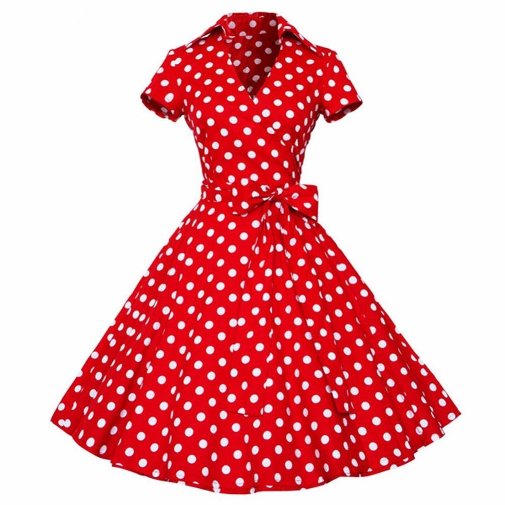 474e0ae02bd Kenancy Plus Size 4XL Women Retro Dress 50s 60s Vintage Rockabilly Swing  feminino vestidos V neck short sleeves Dot print Dress-in Dresses from  Women s ...